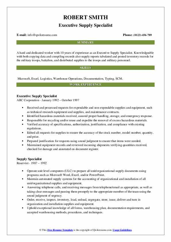 Executive Supply Specialist Resume Model