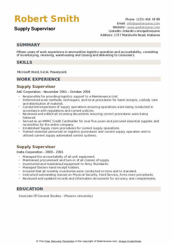 Supply Supervisor Resume example