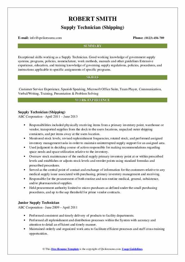 Supply Technician Resume Samples Qwikresume