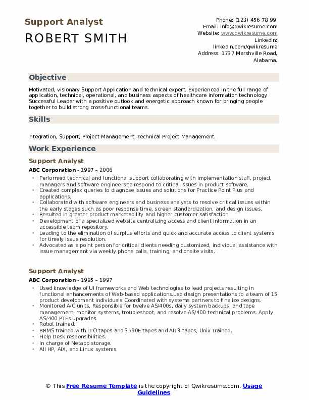 Support Analyst Resume Example