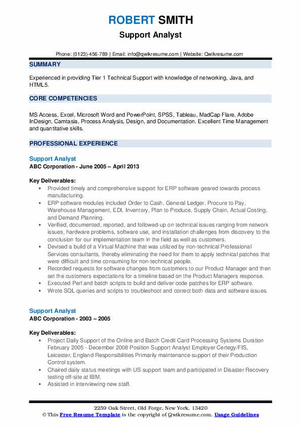 Support Analyst Resume Format