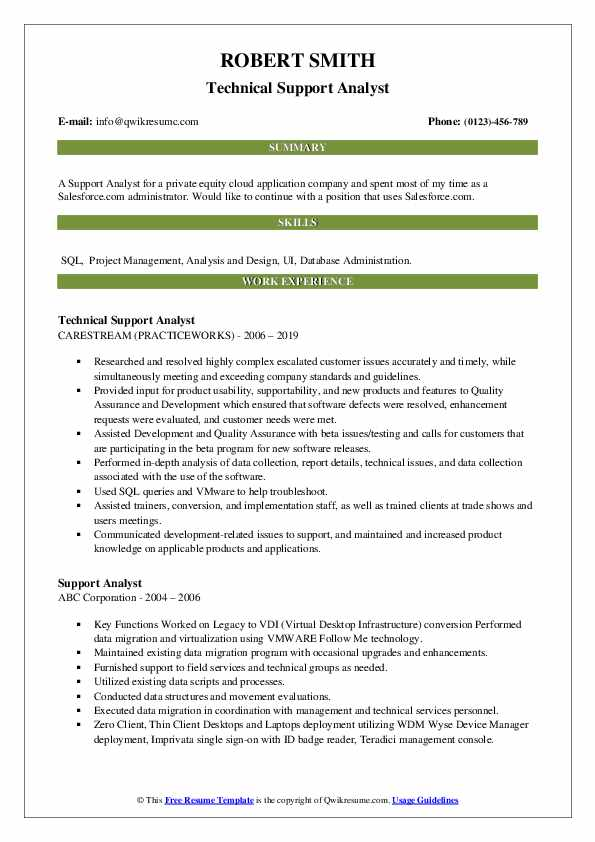 Technical Support Analyst Resume Template