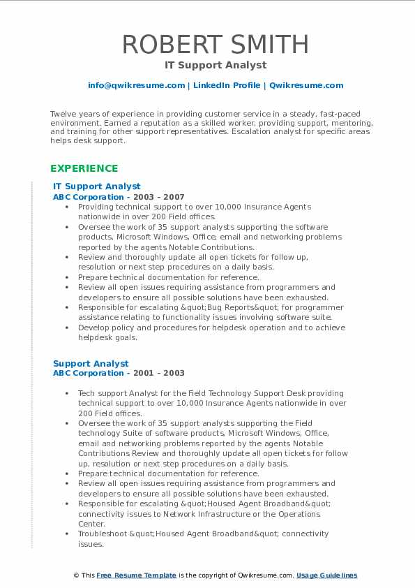 IT Support Analyst Resume Sample