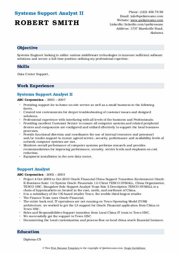Systems Support Analyst II Resume Model