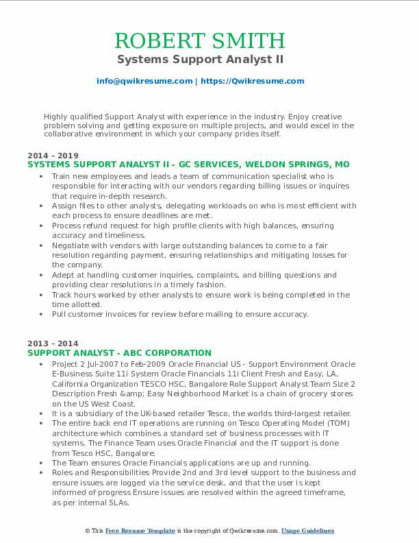 Systems Support Analyst II Resume Template