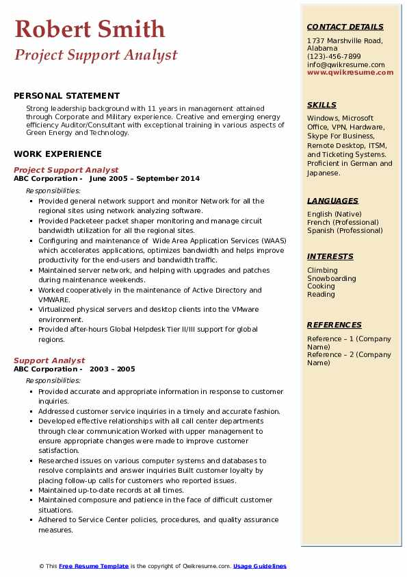 Project Support Analyst Resume Example
