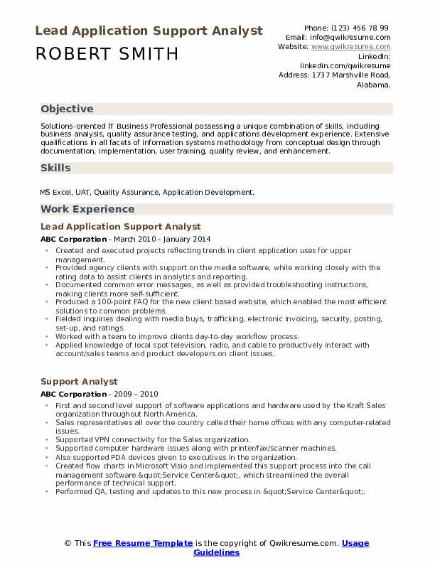 Lead Application Support Analyst Resume Format