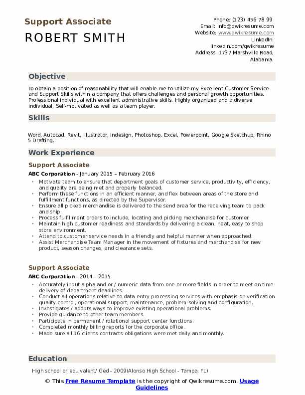 Support Associate Resume Example