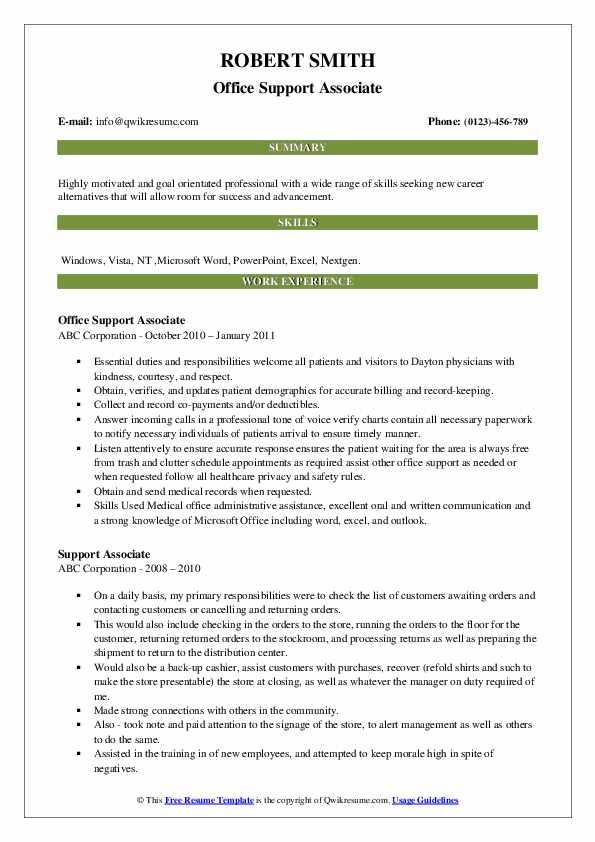 Office Support Associate Resume Sample