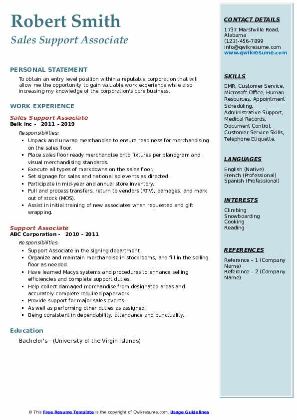 Sales Support Associate Resume Example