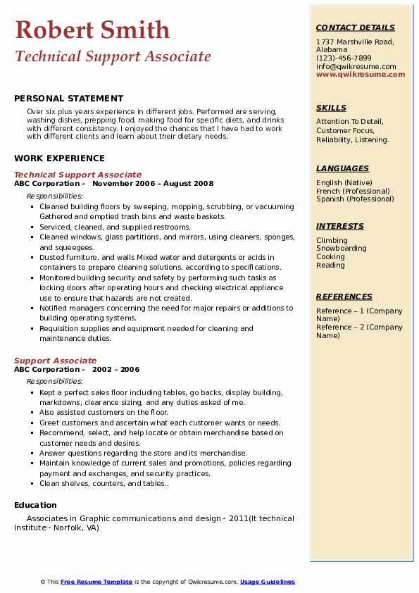 Technical Support Associate Resume Model