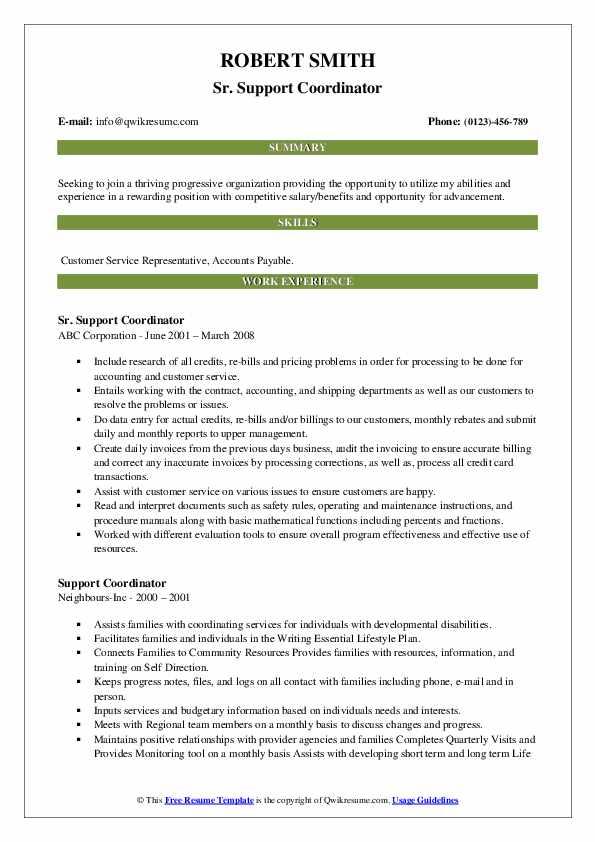 Sr. Support Coordinator Resume Example