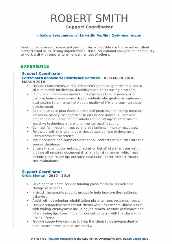 Support Coordinator Resume Template