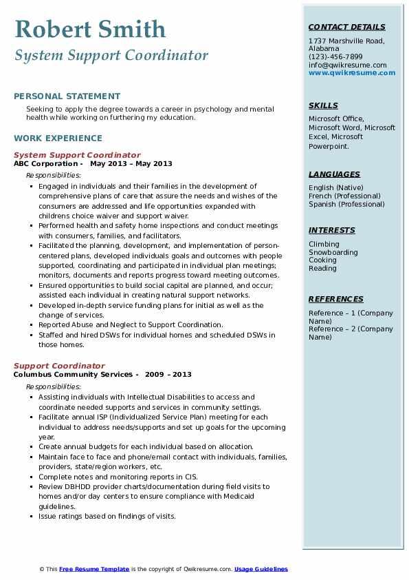System Support Coordinator Resume Format