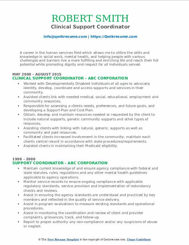Clinical Support Coordinator Resume Sample