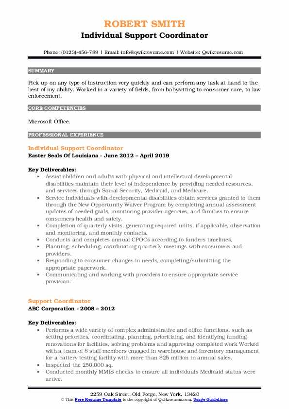 Individual Support Coordinator Resume Template