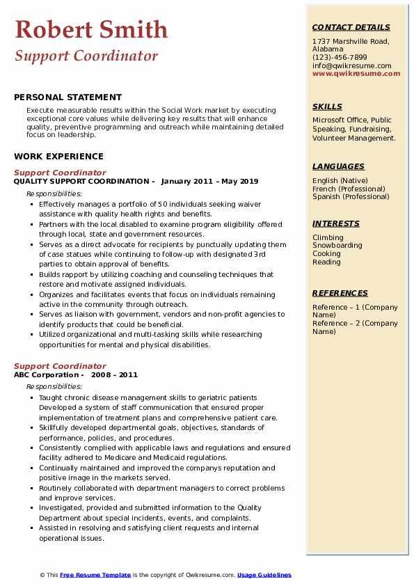 Support Coordinator Resume Sample