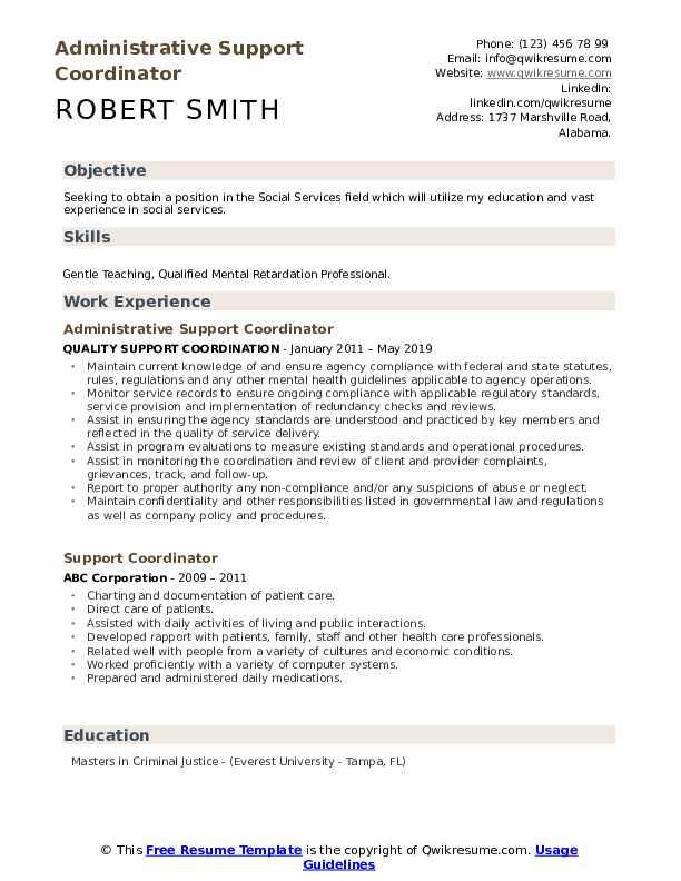 Administrative Support Coordinator Resume Sample