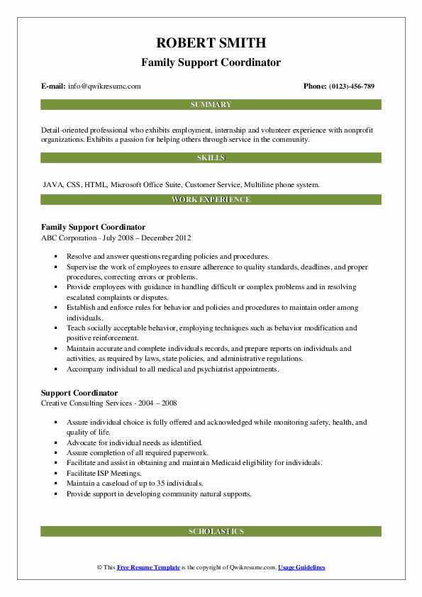 Family Support Coordinator Resume Sample