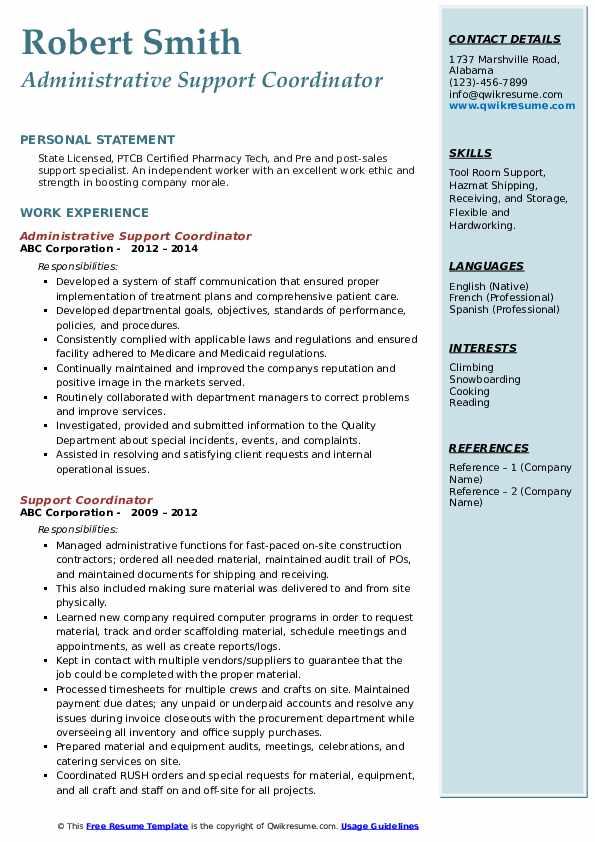 Support Coordinator Resume example