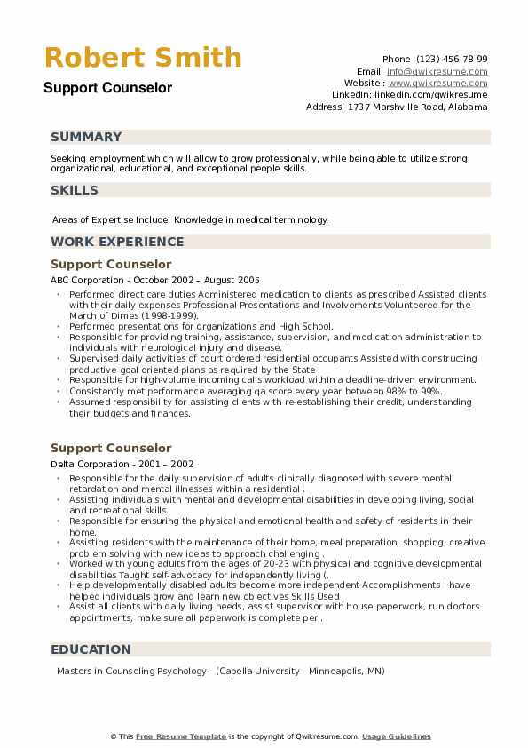 Support Counselor Resume example