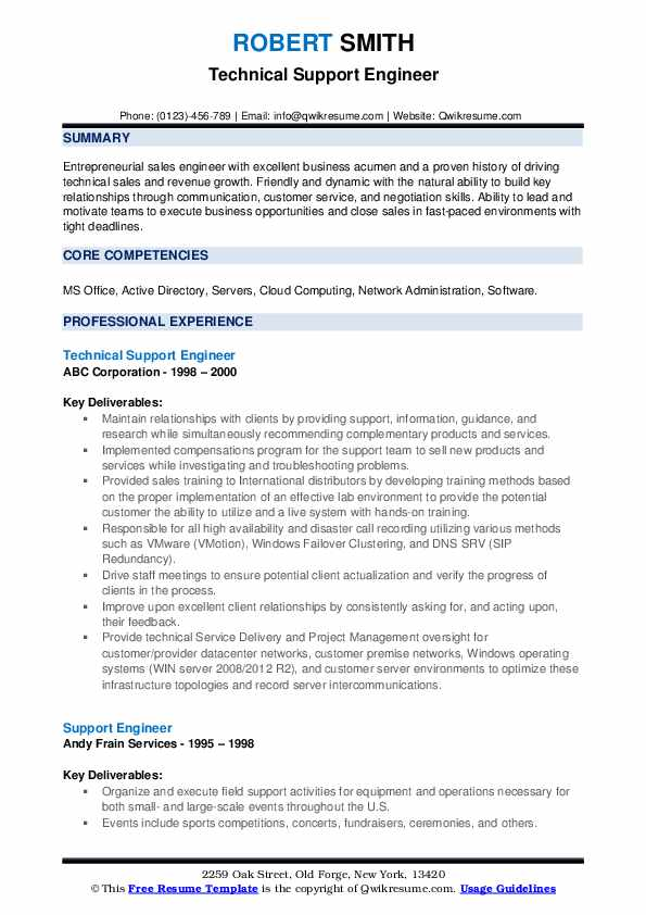 Technical Support Engineer Resume Format