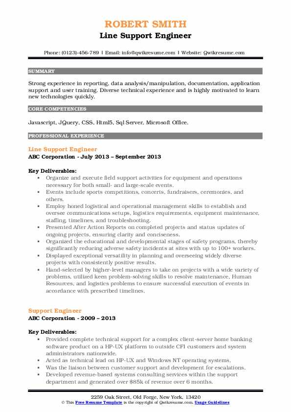 Line Support Engineer Resume Example