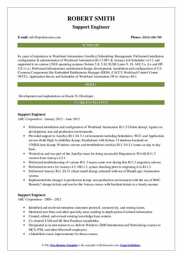 Support Engineer Resume example