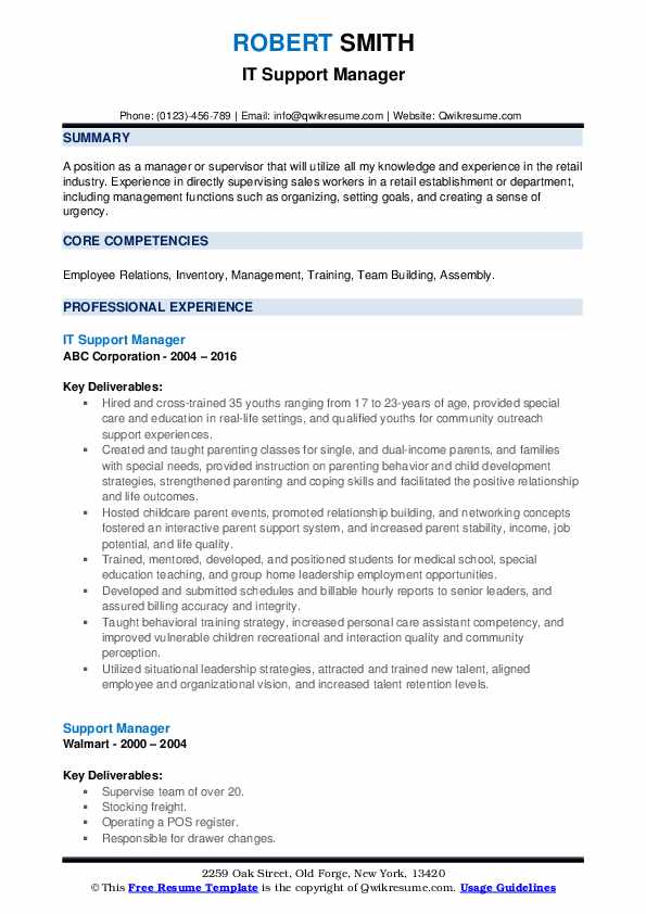 IT Support Manager Resume Format