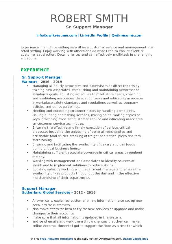 Sr. Support Manager Resume Template