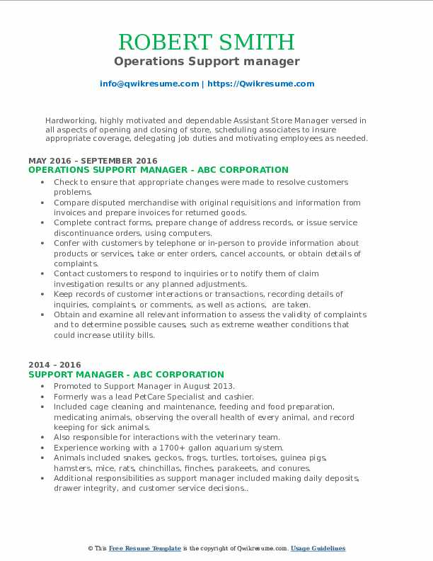 Operations Support manager Resume Format