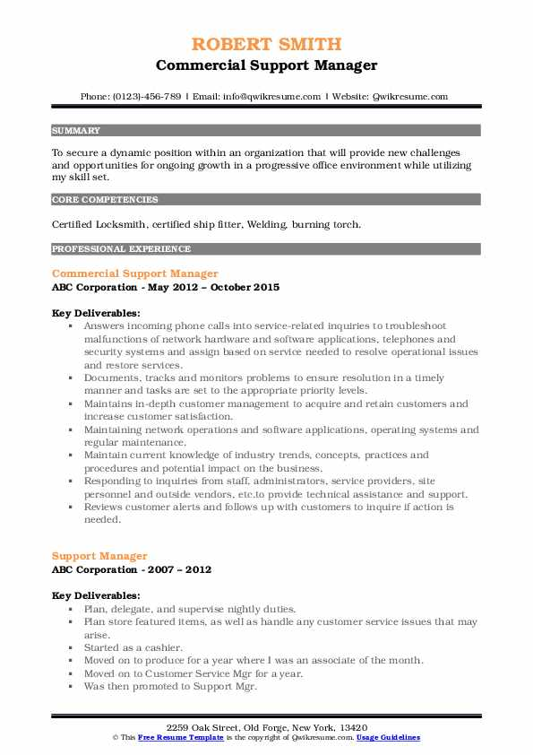 Commercial Support Manager Resume Template