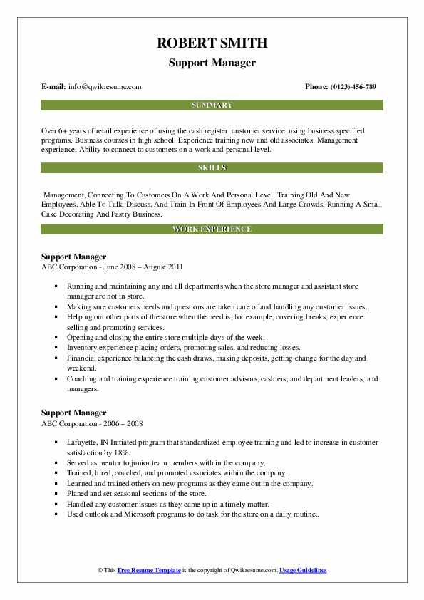 Support Manager Resume example