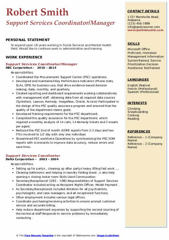 Support Services Coordinator Resume example