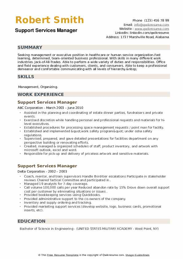 Support Services Manager Resume example