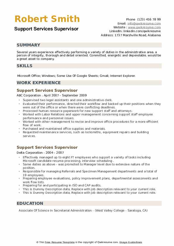 Support Services Supervisor Resume example
