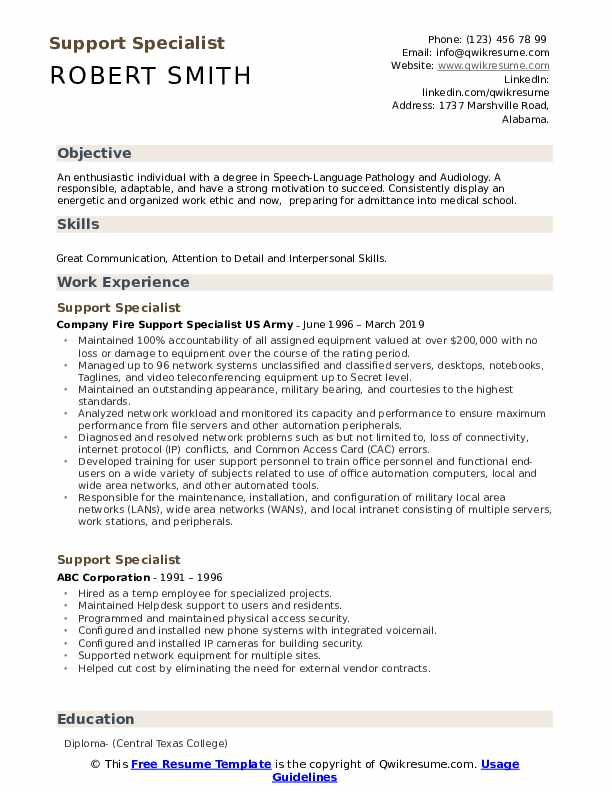 Support Specialist Resume Template