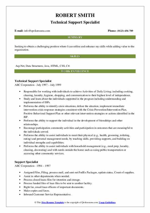Technical Support Specialist Resume Template