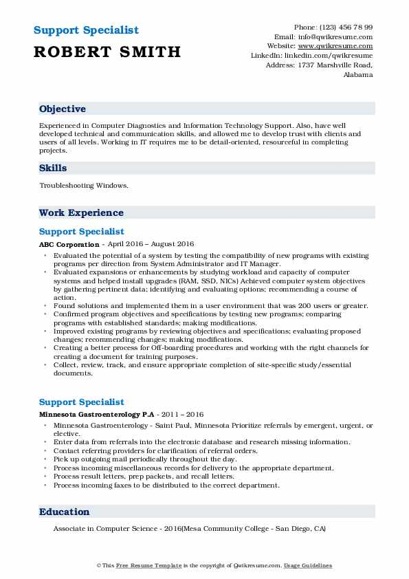 Support Specialist Resume Format