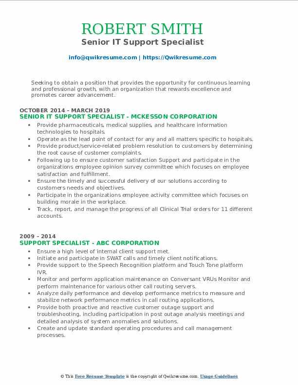 Senior IT Support Specialist Resume Format