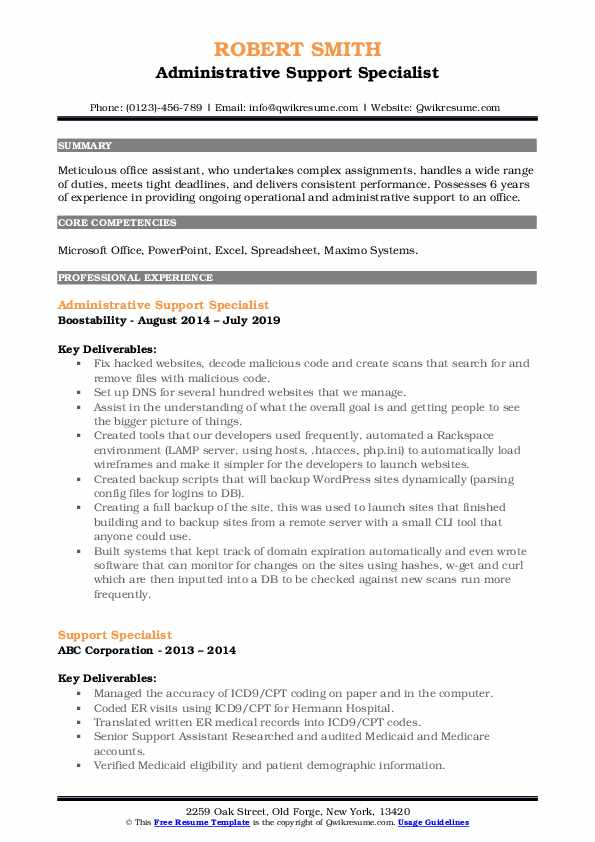 Administrative Support Specialist Resume Example