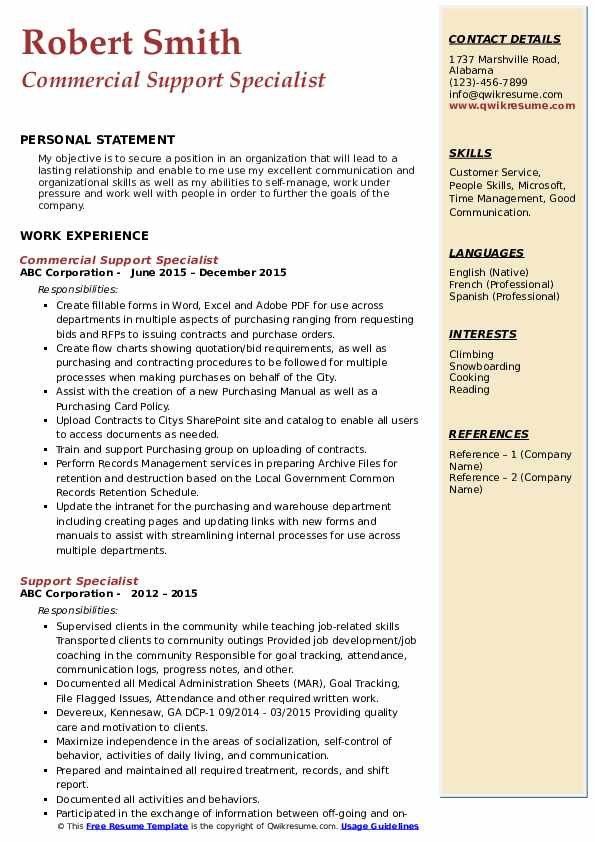 Commercial Support Specialist Resume Model