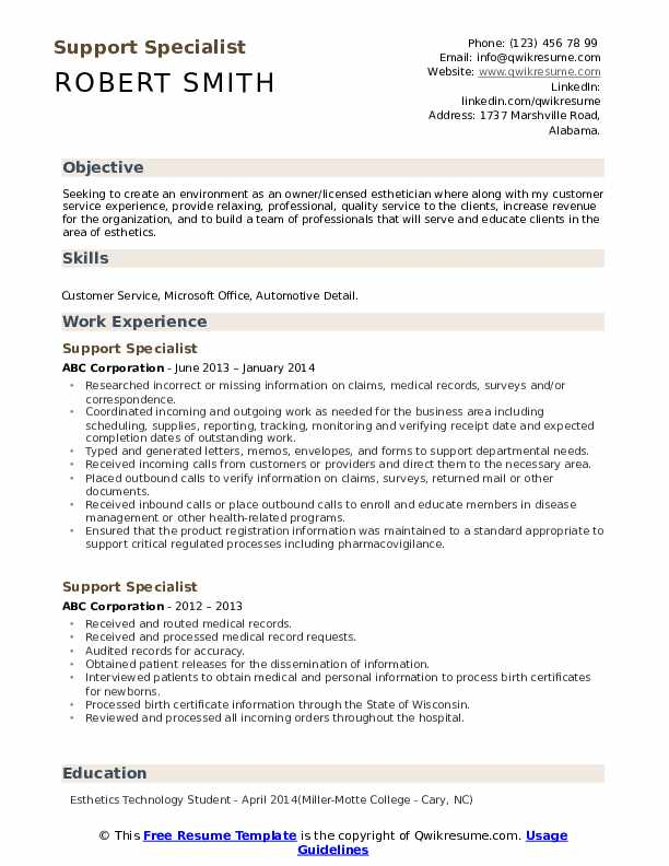 Support Specialist Resume Example