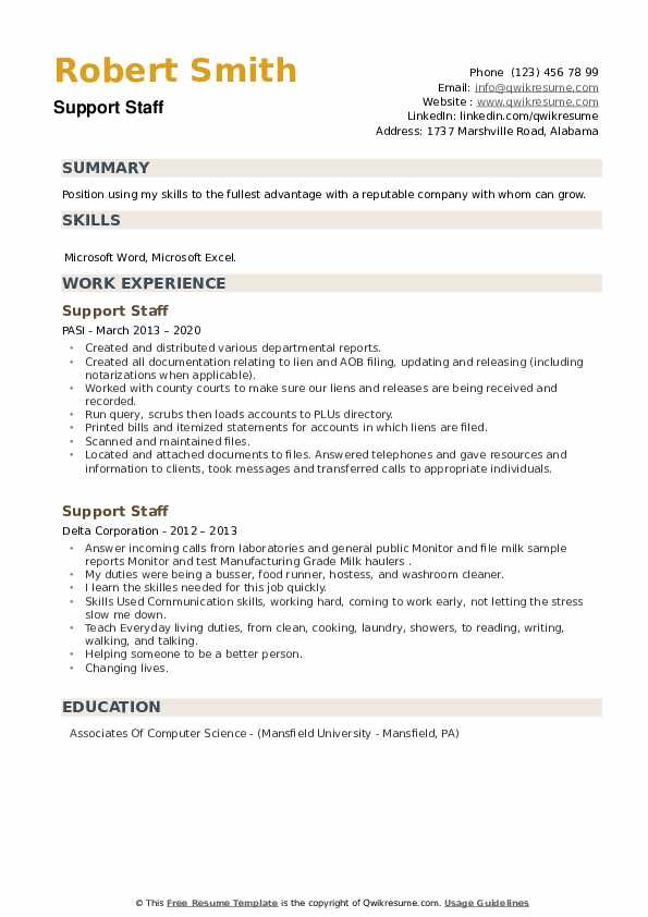 Support Staff Resume example