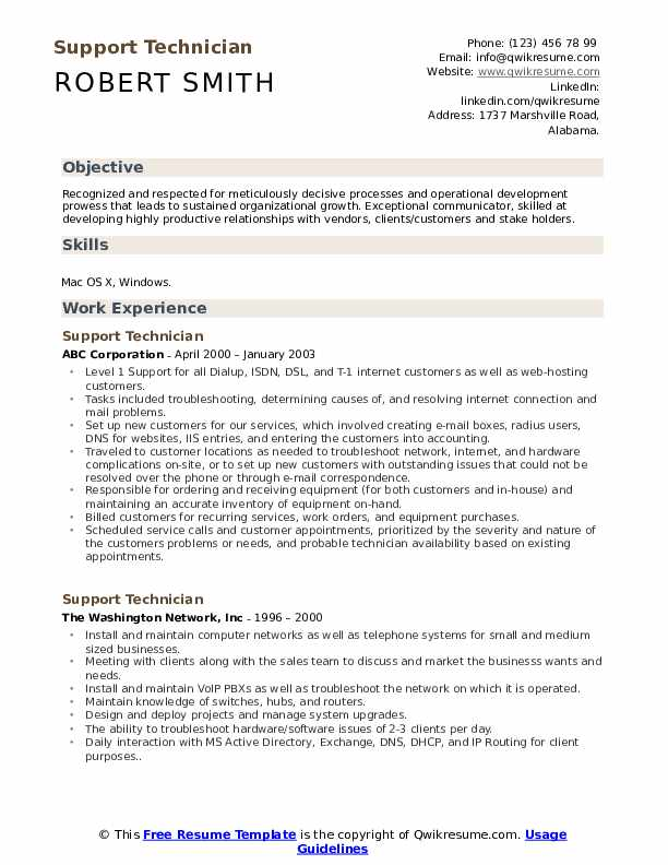 Support Technician Resume Model