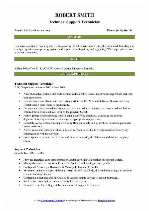 Technical Support Technician Resume Template