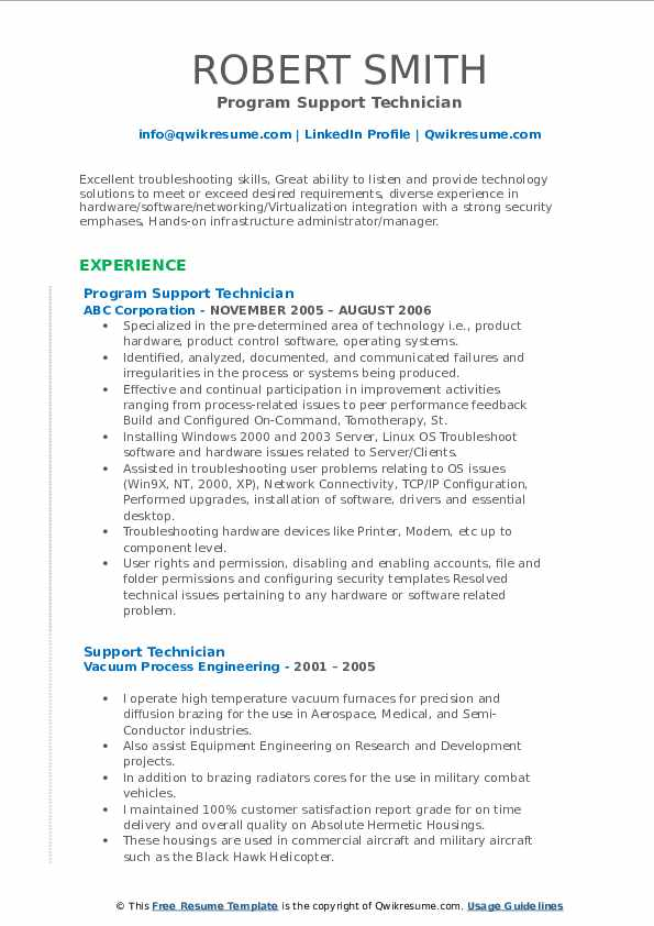 Program Support Technician Resume Sample