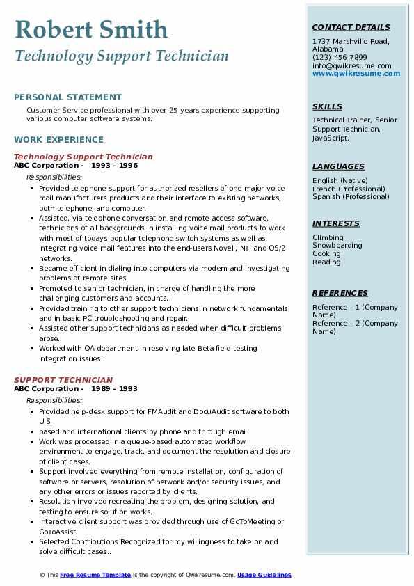 Technology Support Technician Resume Sample