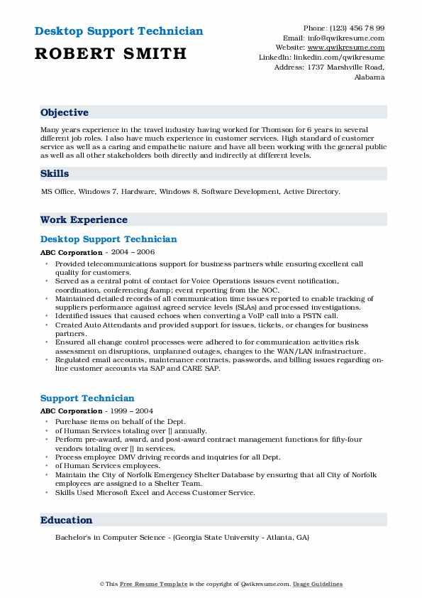 Desktop Support Technician Resume Example