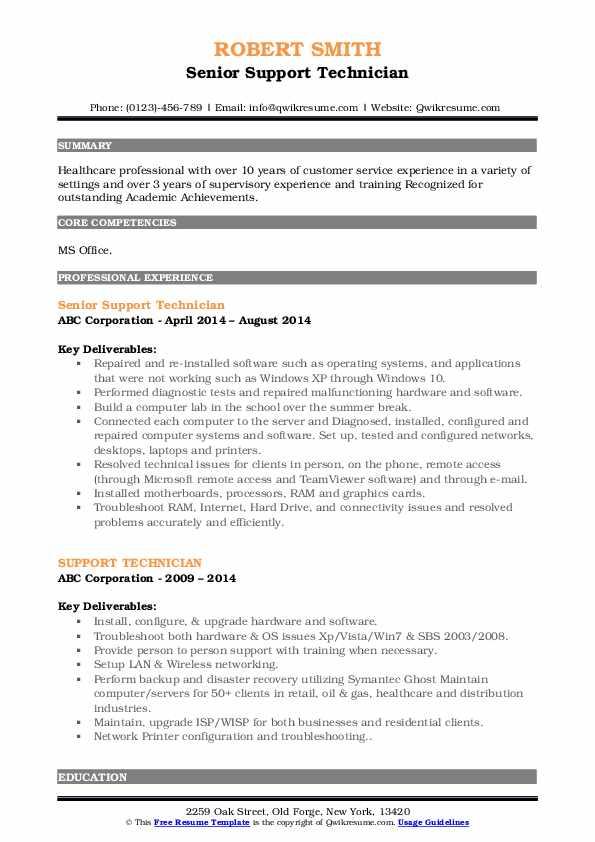 Senior Support Technician Resume Model